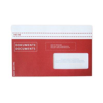 Dokumententasche aus Papier C6/5, vollf. rot bedruckt, Fenster rechts (postfkonform)