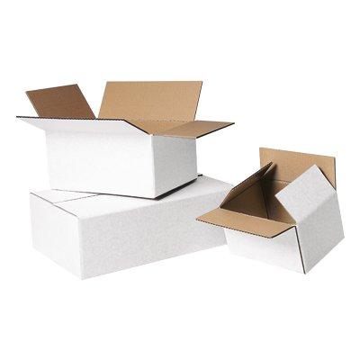 Boîte en carton ondulé, blanc, simple cannelure